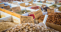 Traditional almonds and pistachios market in South Italy
