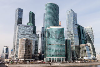 Modern architecture skyscrapers of International Business Center at Moscow City