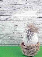 Ostern Hintergrund mit Osterei  auf grün vor Holz
