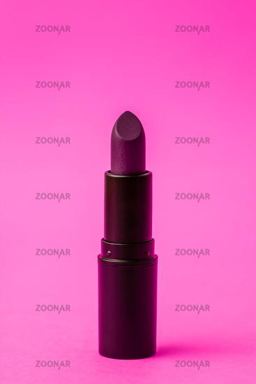 Dark Purple Matt Lipstick in on Pink Background