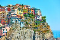 Houses on the rocky coast in Manarola in Cinque Terre