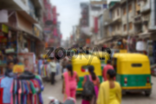People are strong blurred anonymous. Asian streets with motorcycle traffic in chaos