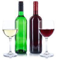 Wein Flaschen Glas Weinflaschen Weinglas Rotwein Weißwein Weisswein Quadrat freigestellt Freisteller