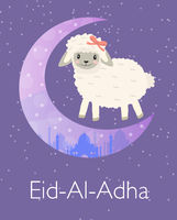 Eid al adha greeting card with Cute little sheep baby clip art funny smiling animal. Vector illustration