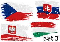 Torn Flag Czech, Slovakia, Poland and Hungary