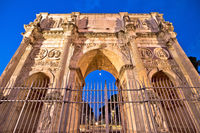 Arch of Constantine square in Rome evening illuminated view