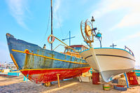 Colorful old fishing boats