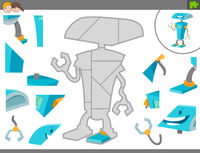 jigsaw puzzle game with cartoon robot