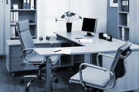 monitor on desk at modern office