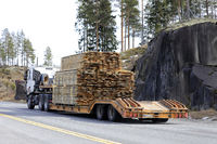 Truck Hauls Lumber on Trailer