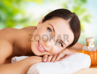 close up of beautiful woman having massage at spa