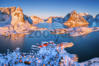 Aerial view of Reine at sunrise in winter in Norway. Top view