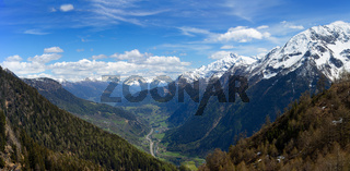 Snow mountains and valley in Switzerland