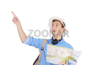 Portrait of teen turist traveling with map