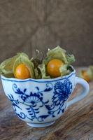 Physalisfrüchte in einer Tasse
