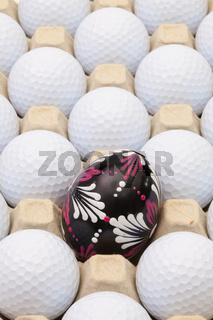 Golf balls in the box for eggs and Easter decoration