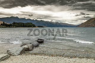 scenery at Lake Te Anau, New Zealand