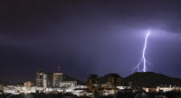 Electrical Storm Lightning Striking over Downtown Tucson Arizona United States