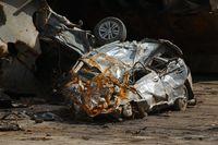 Smashed car wreck