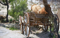 Ancient wooden wheeled wagon