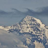 Air swirl over Mount Monch, Bernese Oberland. View from Mount Niederhorn.