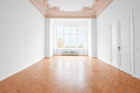 empty room, new flat old building wooden floor and stucco