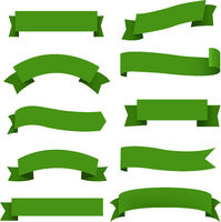 Big Green Ribbons Set White Background