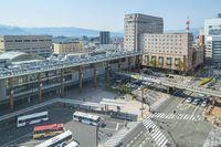 Nagano Station with city traffic in nNagano, Japan