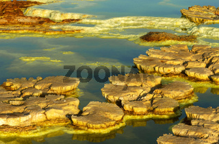 Pilzförmiges Schwefelgestein, Geothermalgebiet Dallol, Danakilsenke, Afar Dreieck, Äthiopien