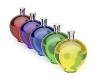 Liqueur bottles with different colors