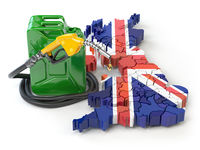 Gasoline and petrol consumption and production in UK Great Britain. Map of UK Great Britain with jerrycan and gas pump nozzle.