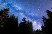 Blue Milky way falling stars pine trees silhouette