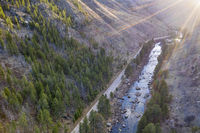 aerial view of mountain river at sunset