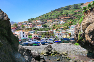Portuguese Landscape with fishing boats and village