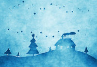 blue christmas background watercolors