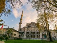 Exterior day shot of Sultan Ahmed Mosque, Blue Mosque, Istanbul, Turkey