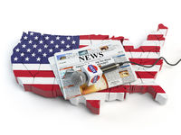 News of USA, press and  journalism concept. Microphone and newspaper on the map in colors of the flag of USA.