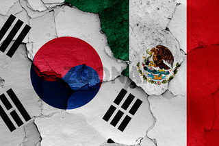 flags of South Korea and Mexico