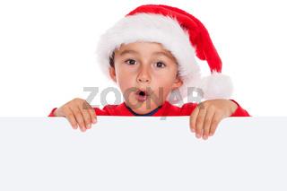 Kind Weihnachtsmann Nikolaus Weihnachten Schild Textfreiraum Copyspace überrascht erstaunt Überraschung