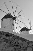 Greek windmillls in Mykonos
