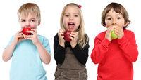 Gruppe Kinder Apfel Obst Früchte essen Herbst gesunde Ernährung isoliert Freisteller freigestellt