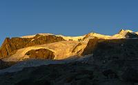 Morgensonne am Monte Rosa-Gletscher