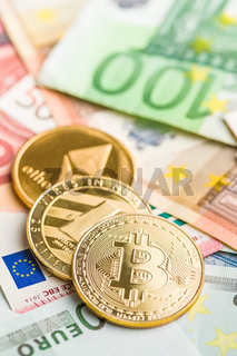 Bitcoin , litecoin and ethereum. Cryptocurrency and euro currency.