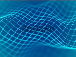 Virtual reality concept: abstract digital landscape lines in cyberspace.