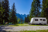 Family vacation travel, holiday trip in motorhome