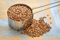 buckwheat kasha in measuring scoop