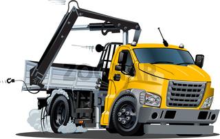 Vector Cartoon Lkw Truck with Crane isolated