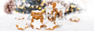 Weihnachten Plätzchen Weihnachtsplätzchen Gebäck Sterne Zimtsterne Banner Dekoration Winter Schnee