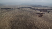 Aerial airplane panoramic view to Nazca plateau with geoglyph lines , Ica, Peru