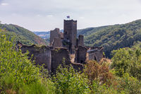 Medieval ruin of Brandenbourg castle at hill in Luxembourg Ardennes